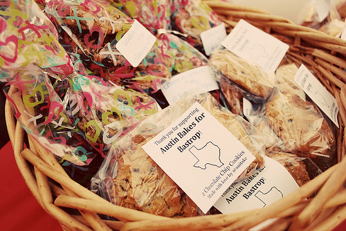 "Some beautifully packaged, labeled goodies from our last bake sale, ""Austin Bakes for Bastrop,"" taken by Mary Helen Leonard."